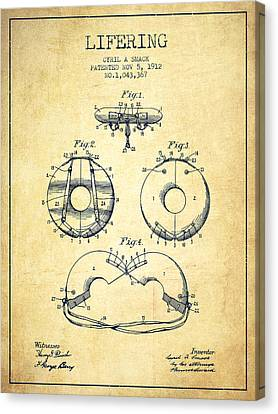 Life Ring Patent From 1912 - Vintage Canvas Print by Aged Pixel