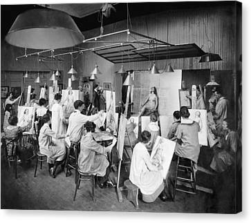 Life Studies At Art School Canvas Print by Underwood Archives