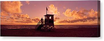 Lifeguard Hut On The Beach, 22nd St Canvas Print by Panoramic Images