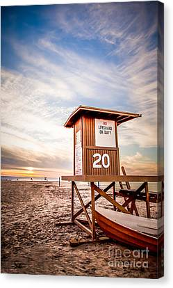 Lifeguard Tower 20 Newport Beach Ca Picture Canvas Print by Paul Velgos