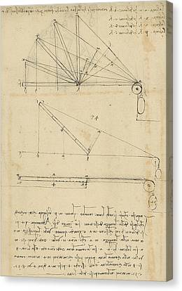 Lifting By Means Of Pulleys Of Beam With Extremity Fixed To Ground From Atlantic Codex Canvas Print by Leonardo Da Vinci