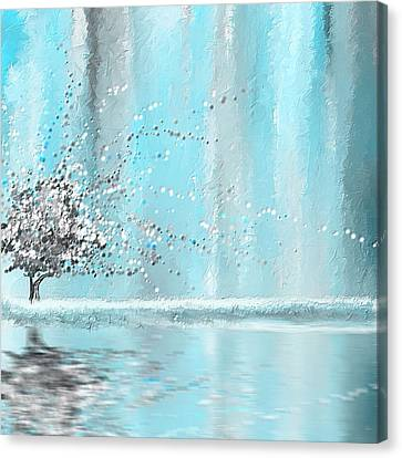 Light Blue And Gray Canvas Print by Lourry Legarde