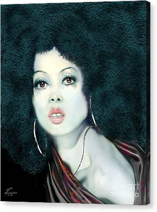 Light Blue Diana Ross-2a Canvas Print by Reggie Duffie