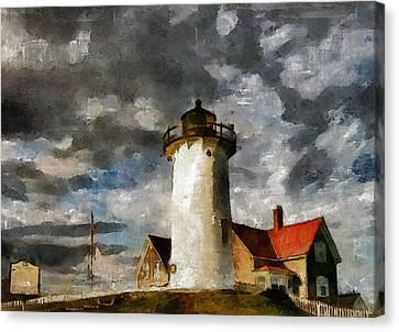 Light House In A Storm Canvas Print by Georgiana Romanovna