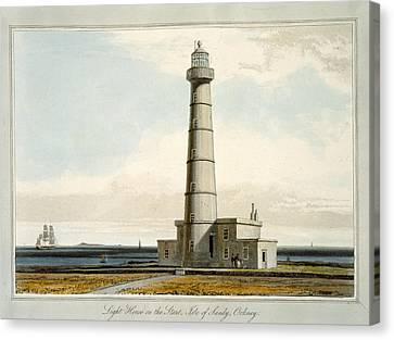 Light House On The Start, Isle Canvas Print by William Daniell