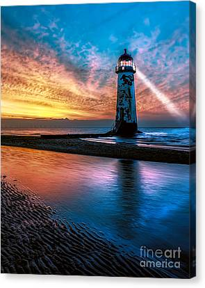 Light House Sunset Canvas Print by Adrian Evans