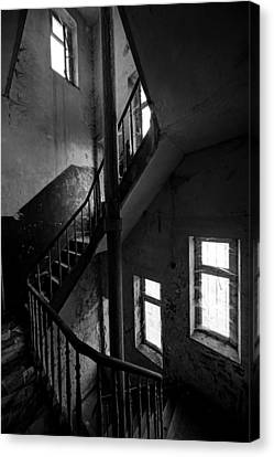 Light In The Dark Abandoned Staircase Canvas Print by Dirk Ercken