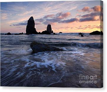 Light On The Needles Canvas Print by Mike  Dawson