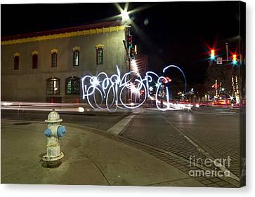 Light Painting Dickson Street Canvas Print by Chris  Look