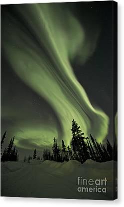 Light Swirls Over The Midnight Dome Canvas Print by Priska Wettstein