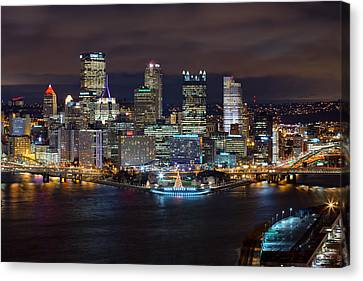 Light Up Night Pittsburgh 3 Canvas Print by Emmanuel Panagiotakis
