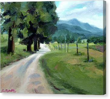 Lighted Path Of Cades Cove Canvas Print by Erin Rickelton