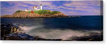 Lighthouse At A Coast, Nubble Canvas Print by Panoramic Images
