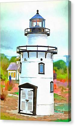 Lighthouse At Old Saybrook Point Canvas Print by Edward Fielding