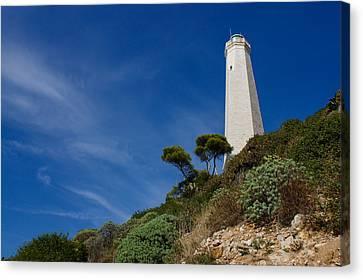 Lighthouse At Saint-jean-cap-ferrat France French Riviera Canvas Print by Georgia Mizuleva