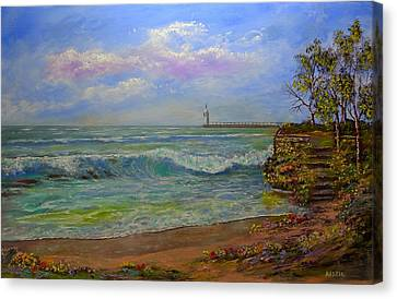 Lighthouse By The Lake Canvas Print by Michael Mrozik