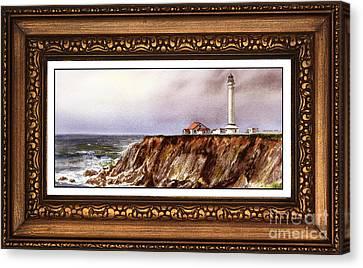 Lighthouse In Vintage Frame Canvas Print by Irina Sztukowski