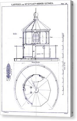 Lighthouse Lantern Lense Order Blueprint Canvas Print by Jon Neidert