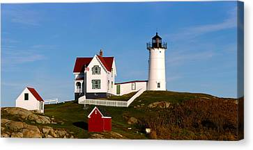 Lighthouse On The Hill, Cape Neddick Canvas Print by Panoramic Images