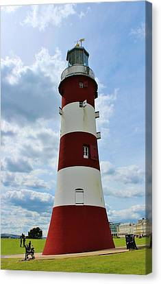 Lighthouse On The Hoe Canvas Print by Theresa Selley