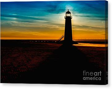 Lighthouse Silhouette Canvas Print by Adrian Evans