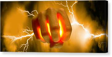 Lightning Coming Out Of Hand Canvas Print by Panoramic Images