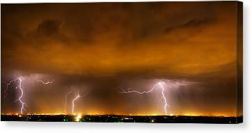 Lightning Drama Canvas Print by Leland D Howard