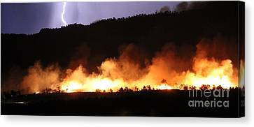 Canvas Print featuring the photograph Lightning During Wildfire by Bill Gabbert