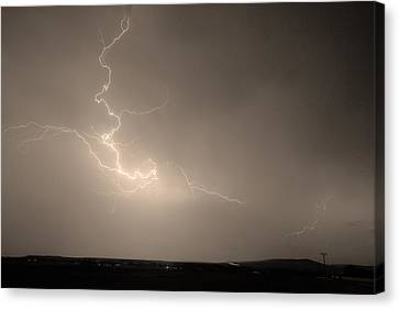 Lightning Goes Boom In The Middle Of The Night Sepia Canvas Print by James BO  Insogna