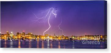Lightning Over Downtown Portland Maine Canvas Print by Benjamin Williamson