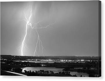 Lightning Strike Boulder Reservoir And Coot Lake Bw Canvas Print by James BO  Insogna