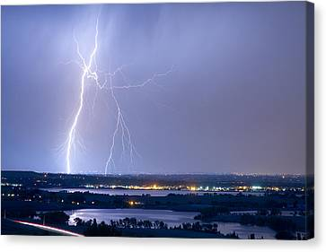 Lightning Strike Boulder Reservoir And Coot Lake Canvas Print by James BO  Insogna