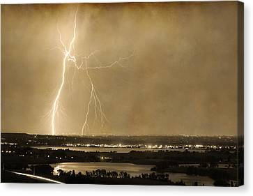 Lightning Strike Boulder Reservoir And Coot Lake Sepia 2 Canvas Print by James BO  Insogna