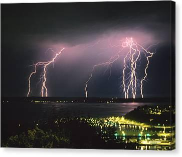 Lightning Strike Canvas Print by King Wu
