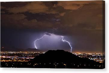 Lightning Strikes Phoenix  Canvas Print by Saija  Lehtonen