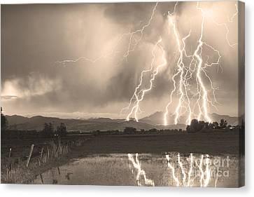Lightning Striking Longs Peak Foothills Sepia 4 Canvas Print by James BO  Insogna
