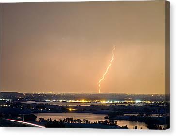 Lightning Striking Over Coot Lake And Boulder Reservoir Canvas Print by James BO  Insogna