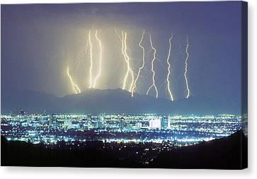 Lightning Striking Over Phoenix Arizona Canvas Print by James BO  Insogna