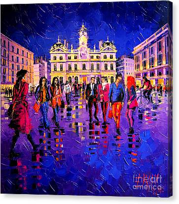 Lights And Colors In Terreaux Square Canvas Print by Mona Edulesco