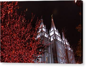 Lights And Temple Canvas Print by Gloria Pasko
