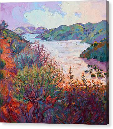 Lights On Whale Rock Canvas Print by Erin Hanson