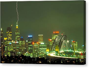 Lihtning On Sydney Canvas Print by Sandro Rossi