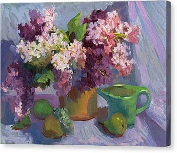 Lilacs And Pears Canvas Print by Diane McClary
