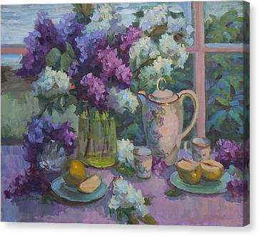 Lilacs And Tea Canvas Print by Diane McClary