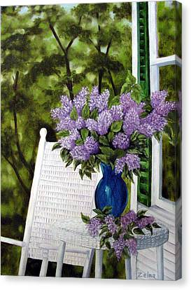 Lilacs And Wicker Canvas Print by Zelma Hensel