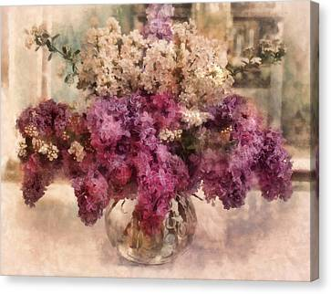 Lilacs In The Parlor Canvas Print by Bernie  Lee