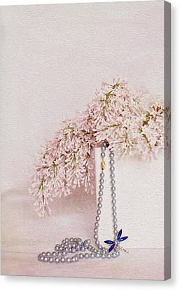 Lilacs Pearls And A Bit Of Sparkle Canvas Print by Rebecca Cozart