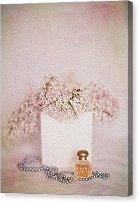 Lilacs Pearls And Perfume Canvas Print by Rebecca Cozart