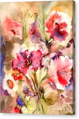 Lilies Canvas Print by Neela Pushparaj