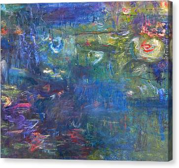 Lily And Koi Pond Canvas Print by  Tolere